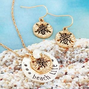 Womens Beach Life Pendant Necklace and Earring Set